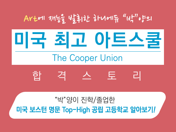 미국 최고 아트스쿨 The Cooper Union 합격 스토리